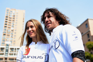 Carles Puyol Vanessa Lorenzo Laureus Shanghai Football Campus Tour - Laureus World Sports Awards - Shanghai 2015