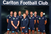 The Carlton leadership group of Sam Docherty, captain Marc Murphy, Andrew Walker, coach Brendon Bolton, Patrick Cripps, vice captain Kade Simpson, Bryce Gibbs and Ed Curnow pose during a Carlton Blues AFL media session at Ikon Park on February 16, 2016 in Melbourne, Australia.