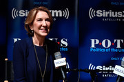 """Carly Fiorina talks with host Julie Mason (not pictured) for SiriusXM's """"Leading Ladies"""" series at SiriusXM Studio on April 18, 2017 in Washington, DC."""