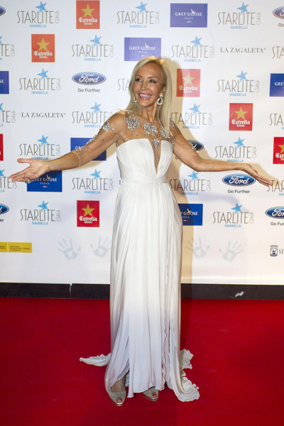 Guests Attend the Starlite Gala in Marbella [red carpet,carpet,clothing,dress,flooring,shoulder,premiere,gown,event,long hair,carmen lomana,starlite gala,marbella,spain]