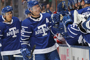 Tyler Bozak #42 of the Toronto Maple Leafs celebrates a goal against the Carolina Hurricanes during an NHL game at the Air Canada Centre on December 19, 2017 in Toronto, Ontario, Canada.