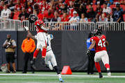 Ricardo Allen #37 of the Atlanta Falcons breaks up a pass intended for Torrey Smith #11 of the Carolina Panthers during the first half at Mercedes-Benz Stadium on September 16, 2018 in Atlanta, Georgia.