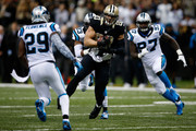 Jimmy Graham #80 of the New Orleans Saints catches a pass against the Carolina Panthersat Mercedes-Benz Superdome on December 8, 2013 in New Orleans, Louisiana.