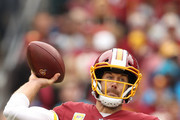 Quarterback Alex Smith #11 of the Washington Redskins in action against the Carolina Panthers at FedExField on October 14, 2018 in Landover, Maryland.