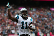 Wide receiver Torrey Smith #11 of the Carolina Panthers celebrates his touchdown after a pass reception in the fourth quarter against the Washington Redskins at FedExField on October 14, 2018 in Landover, Maryland.