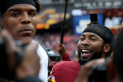 Josh Norman #24 of the Washington Redskins reacts to Cam Newton #1 of the Carolina Panthers after the Redskins victory at FedExField on October 14, 2018 in Landover, Maryland.