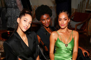Yasmin Wijnaldum, Amilna Estevao. and Alana Arrington attend Caroline Rush, Julia Restoin Roitfeld and Bloomingdales Celebrate David Koma's 10th Anniversary at The Peninsula Hotel on October 30, 2019 in New York City.