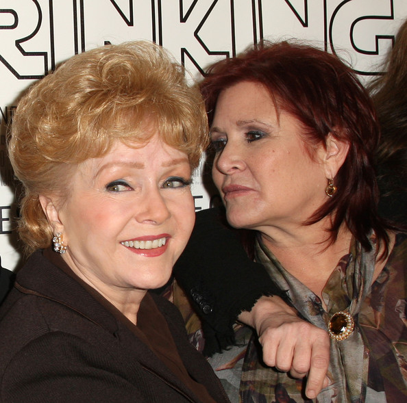 """Premiere Of The HBO Documentary """"Wishful Drinking"""" - Arrivals [premiere of the hbo documentary ``wishful drinking,hair,hairstyle,blond,brown hair,smile,feathered hair,layered hair,bob cut,makeover,arrivals,actresses,carrie fisher,debbie reynolds,linwood dunn theater,california,hollywood,l,premiere]"""