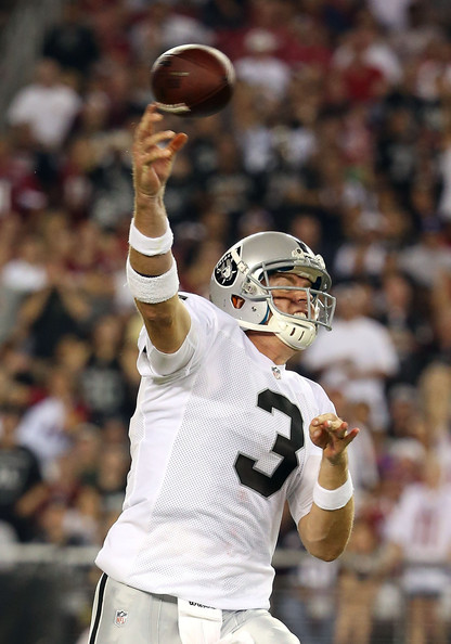 Carson Palmer Quarterback Carson Palmer #3 of the Oakland Raiders throws a pass during the NFL preseason game against the Arizona Cardinals at the University of Phoenix Stadium on August 17, 2012 in Glendale, Arizona.