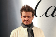 Actor Jeremy Renner arrives on the red carpet for the Santos de Cartier Watch Launch at Pier 48 on April 5, 2018 in San Francisco, California.