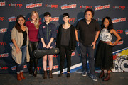 "(L-R) Jennifer Paz, AJ Michalka, Rebecca Sugar, Kat Morris, Tom Scharpling, and Shelby Rabara of the Cartoon Network ""Steven Universe"" panel pose at New York Comic Con on October 7, 2016 in New York City."