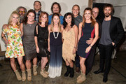 (back L-R) Actors Mark Boone Junior, Charlie Hunnam, Kim Coates, Theo Rossi, Dayton Callie and Niko Nicotera, (front L-R) Boot Campaign's Heather Sholl, Leigh Ann Ranslem, Ginger Giles, Sherri Reuland, Maria Bui and Meghan McDermott attend Cast of FX's 'Sons of Anarchy' Host 'Boot Bash' benefiting The Boot Campaign at The Bunker Lofts on August 2, 2014 in Los Angeles, California.
