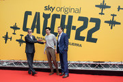 (L-R) George Clooney, Christopher Abbott and Kyle Chander attend 'Catch-22' Photocall, a Sky production, at The Space Moderno Cinema on May 13, 2019 in Rome, Italy.