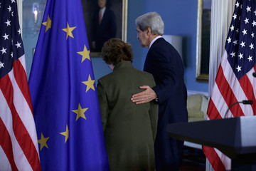 Catherine Ashton John Kerry Holds a Joint News Conference