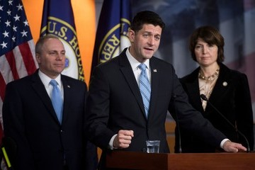 Cathy McMorris Rodgers House Speaker Paul Ryan and GOP Leadership Discuss the 'Tax Cuts and Jobs Act'