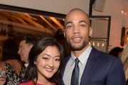 Actors Amy Okuda (L) and Kendrick Sampson attend the Celebration of ABC's TGIT Line-up presented by Toyota and co-hosted by ABC and Time Inc.'s Entertainment Weekly, Essence and People at Gracias Madre on September 26, 2015 in West Hollywood, California.