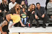 Beyonce, Blue Ivy Carter, Tina Knowles and Richard Lawson attend the NBA All-Star Game 2018 at Staples Center on February 18, 2018 in Los Angeles, California.