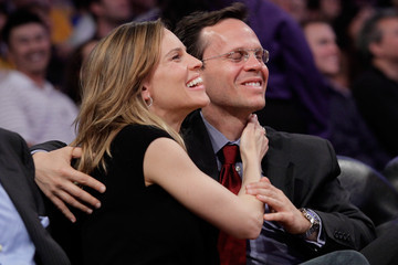 Hilary Swank John Campisi Celebrities At The Lakers Game