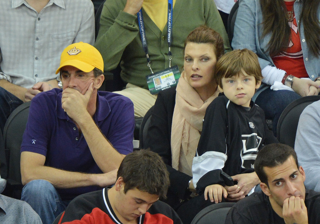 Photo of Linda Evangelista & her Son  Augustin James Evangelista