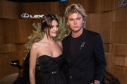 Montana Cox and Jordan Barrett attend the Lexus Marquee during Derby Day at Flemington Racecourse on November 02, 2019 in Melbourne, Australia.