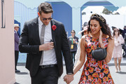 Megan Gale arrives in the Birdcage with partner Shaun Hampson on Oaks Day at Flemington Racecourse on November 08, 2018 in Melbourne, Australia.
