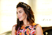 Megan Gale poses at the Lexus Marquee on Oaks Day at Flemington Racecourse on November 08, 2018 in Melbourne, Australia.