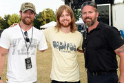 US Veteran and former contestant on Dancing with the Stars Noah Galloway, Recording Artist Andrew Leahey with US Veteran Chad Fleming backstage during The 4th Annual Pepsi's Rock The South Festival - Day 2  at Heritage Park in Cullman, Alabama.
