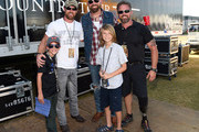 Noah Galloway former US Army and contestant on Dancing with the Stars and Recording Artist Corey Smith and their sons backstage during The 4th Annual Pepsi's Rock The South Festival - Day 2  at Heritage Park in Cullman, Alabama.