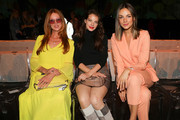 (L-R) Esther Schweins, Yvonne Catterfeld and Janina Uhse at the Marc Cain fashion show during the Berlin Fashion Week Spring/Summer 2020 at Velodrom on July 02, 2019 in Berlin, Germany.