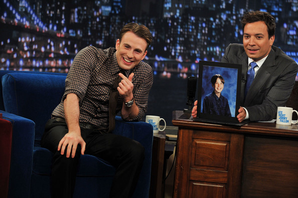 "Chris Evans (L) visits ""Late Night With Jimmy Fallon"" at Rockefeller Center on July 12, 2011 in New York City."