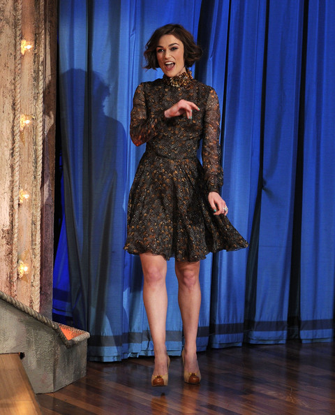 "Actress Keira Knightley visits ""Late Night With Jimmy Fallon"" at Rockefeller Center on May 10, 2011 in New York City."