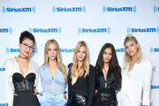 "(L-R) Models Ping Hue, Hannah Ferguson, Nadine Leopold, Shanina Shaik and Devon Windsor from TV show ""The Model Squad"" visit SiriusXM Studios on August 22, 2018 in New York City."
