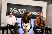 Actors Demian Bichir, Madalina Ghenea and Richard E. Grant speak at Variety Studio presented by Moroccanoil at Holt Renfrew during the 2013 Toronto International Film Festival on September 9, 2013 in Toronto, Canada.