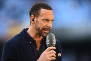 Ex-Man Utd player and pundit Rio Ferdinand looks on prior to the UEFA Europa League semi final, first leg match between Celta Vigo and Manchester United at the Estadio Balaidos on May 4, 2017 in Vigo, Spain.