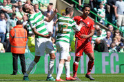 Shay Logan (R), of Aberdeen clashes with Mikael Lustig (L), of Celtic after the final whistle resulting in a red card for Shay Logan during the Scottish Premier League match between Celtic and Aberdeen at Celtic Park on May 13, 2018 in Glasgow, Scotland.