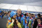 Yelena Isinbayeva (L), mayor of the Olympic Village, arrives with Dmitry Chernyshenko (R), Sochi 2014 Olympics President and CEO, for a ribbon cutting ceremony to open the coastal Olympic Village at the 2014 Winter Olympics January 30, 2014 in Sochi, Russia. The Olympics are set to open February 7, and run through the 23.