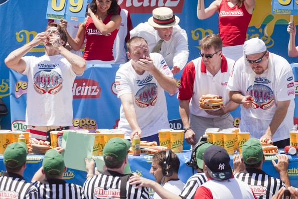 Joey+Chestnut in Champion Eaters Compete In Nathan's Annual Hot Dog Eating Contest