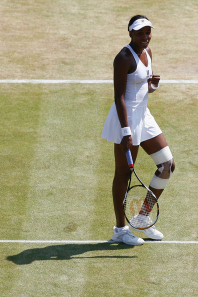Venus Williams of USA celebrates during the women's singles quarter final match against Agnieszka Radwanska of Poland on Day Eight of the Wimbledon Lawn Tennis Championships at the All England Lawn Tennis and Croquet Club on June 30, 2009 in London, England.