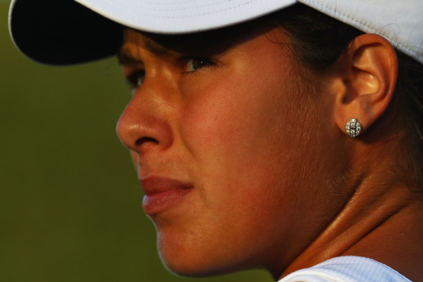 Ana Ivanovic of Serbia looks on during the women's singles first round match against Lucie Hradecka of Czech Republic on Day Two of the Wimbledon Lawn Tennis Championships at the All England Lawn Tennis and Croquet Club on June 23, 2009 in London, England.