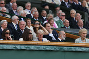 (Front L-R) Pippa Middleton, Catherine, Duchess of Cambridge,  Gill Brook, Prince Michael of Kent, Princess Michael of Kent, (Back 2nd R-R) Sophie Winkleman and Lord Frederick Windsor sit in the Royal Box during the Gentlemen's Singles final match between Roger Federer of Switzerland and Andy Murray of Great Britain on day thirteen of the Wimbledon Lawn Tennis Championships at the All England Lawn Tennis and Croquet Club on July 8, 2012 in London, England.