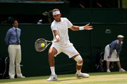 Juan Martin Del Potro of Argentina plays a forehand during the Gentlemen's Singles semi-final match against Novak Djokovic of Serbia on day eleven of the Wimbledon Lawn Tennis Championships at the All England Lawn Tennis and Croquet Club on July 5, 2013 in London, England.
