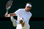 Juan Martin Del Potro of Argentina reacts during the Gentlemen's Singles semi-final match against Novak Djokovic of Serbia on day eleven of the Wimbledon Lawn Tennis Championships at the All England Lawn Tennis and Croquet Club on July 5, 2013 in London, England.