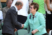 Billie Jean King greets Prince Edward, Duke of Kent in the Royal Box on Centre Court before the Ladies' Singles final match between Sabine Lisicki of Germany and Marion Bartoli of France on day twelve of the Wimbledon Lawn Tennis Championships at the All England Lawn Tennis and Croquet Club on July 6, 2013 in London, England.