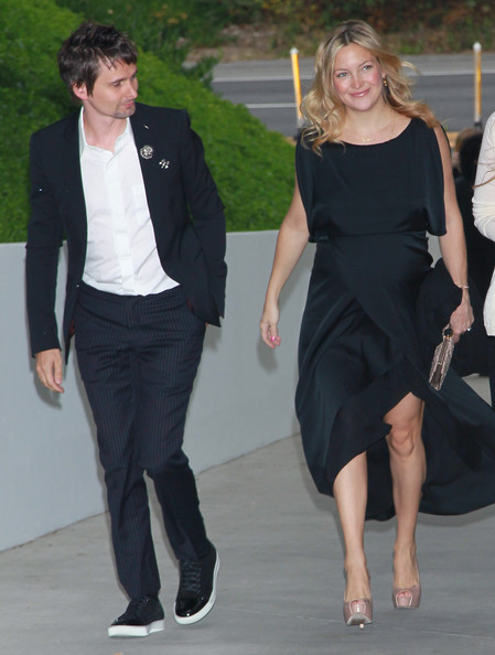 Recording artist Matthew Bellamy (L) and actress Kate Hudson attend Chanel's benefit dinner for the Natural Resources Defense Council's Ocean Initiative at the home of Ron & Kelly Meyer on June 4, 2011 in Malibu, California.