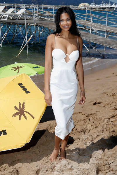 'Dope' Photocall - The 68th Annual Cannes Film Festival [dope photocall,white,clothing,dress,yellow,shoulder,beauty,photo shoot,vacation,fashion,beach,chanel iman,photocall,cannes,france,dope,cannes film festival]