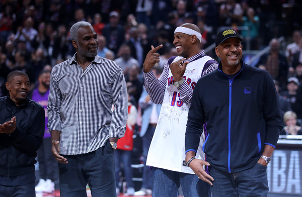 2019 NBA Finals - Game One [product,people,fan,crowd,event,audience,performance,music artist,rapper,championship,game one,mugsy bogues,user,charles oakley,dell curry,jerome williams,note,nba,toronto raptors,finals]