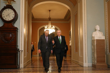Charles Schumer Senate Major Leader McConnell (R-KY) and Senate Minority Leader Schumer (D-NY) Walk To Senate Chamber Together After Budget Deal Reached