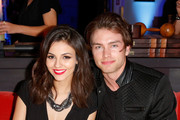 Actress/singer Victoria Justice (L) and Pierson Fode attends a celebration of the 57th annual GRAMMY Awards hosted by Delta Air Lines, the official airline of the GRAMMY Awards, with a private performance from Charli XCX on February 5, 2015 in West Hollywood, California.