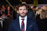 """Sam Claflin attends the """"Charlies Angels"""" UK Premiere at The Curzon Mayfair on November 20, 2019 in London, England."""
