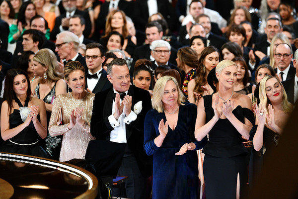 92nd Annual Academy Awards - Backstage [handout photo,event,audience,performance,crowd,music,choir,musical ensemble,musician,formal wear,charlize theron,tom hanks,cruz,backstage,lope,front row,pen\u00e3,a.m.p.a.s.,92nd annual academy awards,tom hanks,rita wilson,elizabeth ann hanks,charlize theron,truman hanks,actor,photograph,academy awards,getty images]